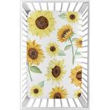 Sweet Jojo Designs Sunflower Mini Fitted Crib Sheet Polyester in Brown, Size 5.0 H x 24.0 W x 38.0 D in | Wayfair MiniSheet-Sunflower-PRT