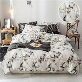 CLOTHKNOW White Geometric Queen Bed Comforter Sets White Grey Marble Bedding Set Full Size Geometric Bedding Comforter Men Women Men Comforter 3Pcs Bedding Comforter Sets Queen/Full