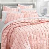 Ashlyn Ruched Cotton Quilt - White, Full/Queen - Grandin Road