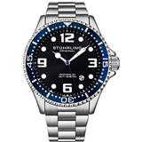 Stuhrling Original Mens Analog Dive Watch - Sports Watch Water Resistant 100 Meters - Watches for Men Aqua-Diver Stainless Steel Link Bracelet Mens Watches Collection (Blue/Silver)
