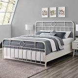 Walker Edison Vintage Antique Metal Iron Pipe King Size Bed Headboard Footboard Bed Frame Bedroom King, White
