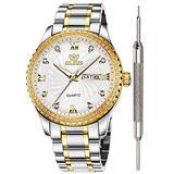 OLEVS White Diamond Watches for Men Waterproof Gold Luxury Best Watches for Men Calendar Brand Fine Wrist Watch Stainless Steel Classic Analog Quartz Watch Christmas
