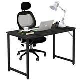 DlandHome 47 inches Medium Computer Desk, Composite Wood Board, Modern Home Office Desk/Workstation/Table, WK-JJ, Black and Black Legs