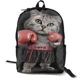 YongColer Back to School Gift - Travel Hiking Bag & Day Pack Casual Daypack Climbing Shoulder Bag Big Capacity Rucksack Funny Boxing Cat Black School Daypack Backpack for Teen Boys