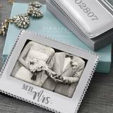 Mariposa Mr. & Mrs. Beaded Statement Picture Frame Metal in Gray, Size 4.0 H x 7.75 W x 0.5 D in   Wayfair 3911MRM