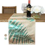 """Custom Made Metallic Yarn Gold Green Table Runner – 14 x 108 Inch Gold Table Runner for Dining Table - Modern Foil Leaf Design – Ideal for Holidays, Home Décor (108"""" Table Runner, Green/Gold)"""