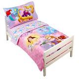 Disney Princess Adventure Rules 4 Piece Toddler Bedding Set Polyester in Pink | Wayfair 5556416