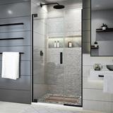 "DreamLine Elegance Plus 39.75"" W x 72"" H Pivot Frameless Shower Door w/ ClearMax Technology Tempered Glass in Black, Size 72.0 H in | Wayfair"