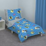 Disney Puppy Dog Pals 4 Piece Toddler Bedding Set Polyester in Blue/Gray | Wayfair 2870416