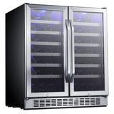 EdgeStar 56 Bottle Dual Zone Built-In Wine Refrigerator in Gray, Size 34.312 H x 29.5 W x 25.562 D in | Wayfair CWR5631FD