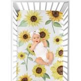 Sweet Jojo Designs Sunflower Fitted Crib Sheet Polyester in Brown/Green/Yellow, Size 8.0 H x 28.0 W x 52.0 D in | Wayfair CribSheet-Sunflower-PRT