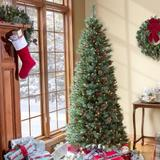 The Holiday Aisle® Newbury Easy Stow 6.5' Green Pine Artificial Christmas Tree 300 Warm White Lights in Green/White | Wayfair HD910001