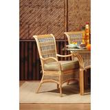 Spice Islands Wicker Slat Back Stackable Arm Dining Chair in White   Wayfair SIDC-NAT-HICKORY TRELLIS