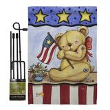 Breeze Decor Pat Bear Americana Patriotic Impressions 2-Sided Polyester 19 x 13 in. Flag Set in Brown/Gray   Wayfair