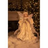 The Holiday Aisle® Moving Fiber Optic Ivory Angel Tree Topper in White, Size 18.0 H x 12.0 W x 6.5 D in   Wayfair THDA2953 42233537