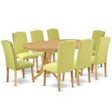 Winston Porter Baigelman 9 Piece Extendable Solid Wood Dining Set Table Color: Oak, Chair Color: Limelight, Wood/Upholstered Chairs/Solid Wood