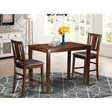 Winston Porter Barview Counter Height Solid Wood Dining Set Wood/Upholstered Chairs in Brown, Size 36.0 H x 30.0 W x 48.0 D in | Wayfair