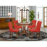 Winston Porter Antonne 5 - Piece Solid Wood Rubberwood Dining Set Wood/Upholstered Chairs in Brown, Size 42.0 W x 42.0 D in | Wayfair