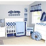 Harriet Bee Kamdyn Racecars 13 Piece Crib Bedding Set Cotton Blend in Blue, Size 11.0 W in   Wayfair A841A628149B45CFA68F9FA854EB0F6B