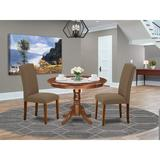 Winston Porter Avallone 3 - Piece Solid Wood Rubberwood Dining Set Wood/Upholstered Chairs in Brown, Size 29.5 H x 42.0 W x 42.0 D in | Wayfair