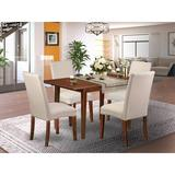 Winston Porter Arison 5 - Piece Extendable Solid Wood Dining Set Wood/Upholstered Chairs in Brown, Size 30.0 H in | Wayfair