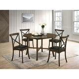Gracie Oaks Terrence 5 - Piece Dining SetWood/Upholstered Chairs in Brown, Size 29.63 H x 47.25 W x 47.25 D in | Wayfair