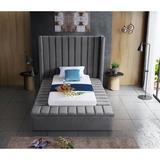Everly Quinn Rick Solid Wood Tufted Upholstered Storage Platform Bed Upholstered/Velvet in Gray, Size 104.0 D in   Wayfair