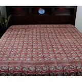 "Bungalow Rose Hand Block Dabu Floral Tapestry, Cotton in Red, Size 72"" H x 108"" W 