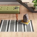 Andover Mills™ Ensor Striped Black/Bone Area Rug Polypropylene in Black/Brown/White, Size 264.0 H x 27.0 W x 0.25 D in   Wayfair