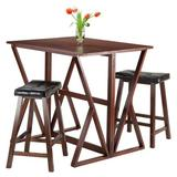 Red Barrel Studio® Brayan 3 Piece Counter Height Dining Set Wood/Upholstered Chairs in Brown/Green, Size 36.22 H in   Wayfair LATT1668 34941122