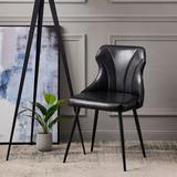 Ebern Designs Ringwald Metal Side Chair in Faux Leather/Upholstered/Metal in Black, Size 29.5 H x 22.0 W x 19.0 D in   Wayfair VNF-00083