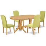 Winston Porter Ayush 5 Piece Extendable Solid Wood Dining Set Table Color: Oak, Chair Color: Limelight, Wood/Upholstered Chairs/Solid Wood | Wayfair