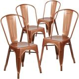 Williston Forge Eva Metal Slat Back Stacking Side chair Metal, Size 33.5 H x 17.75 W x 20.0 D in | Wayfair 4-ET-3534-POC-GG