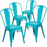 Williston Forge Eva Metal Slat Back Stacking Side chair Metal, Size 33.5 H x 17.75 W x 20.0 D in | Wayfair 4-ET-3534-CB-GG