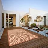 Brayden Studio® Hughes Flatweave Polypropylene Coral/Beige/Terra Indoor/Outdoor Use Area Rug Polypropylene in Pink, Size 96.0 H x 60.0 W x 0.2 D in