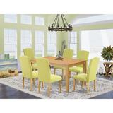 Alcott Hill® Cathrine 7 - Piece Rubberwood Solid Wood Dining Set Wood/Upholstered Chairs in Brown, Size 30.0 H x 36.0 W x 60.0 D in | Wayfair