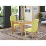 Winston Porter Leoma 3 Piece Solid Wood Dining Set Wood/Upholstered Chairs in Brown, Size 30.0 H x 36.0 W x 36.0 D in | Wayfair