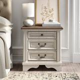 Kelly Clarkson Home Hayley 3 - Drawer Nightstand in White Wood in Brown/White, Size 27.75 H x 27.0 W x 17.0 D in   Wayfair