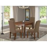 Winston Porter Borgey 5 Piece Solid Wood Dining Set Wood/Upholstered Chairs in Brown, Size 30.0 H x 36.0 W x 36.0 D in | Wayfair