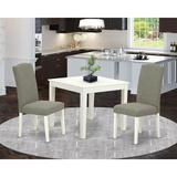 Winston Porter Leoma 3 Piece Solid Wood Dining Set Wood/Upholstered Chairs in White, Size 30.0 H x 36.0 W x 36.0 D in | Wayfair