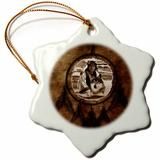 The Holiday Aisle® Native American Wolf Based on a Painting Holiday Shaped Ornament Ceramic/Porcelain in Brown, Size 3.0 H x 3.0 W x 0.0625 D in