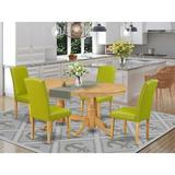 Winston Porter Lupi 5 Piece Extendable Solid Wood Dining Set Table Color: Oak, Chair Color: Autumn Green, Wood/Upholstered Chairs/Solid Wood Wayfair