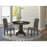 August Grove® Woolford 3 - Piece Solid Wood Rubberwood Dining Set Wood/Upholstered Chairs in Black, Size 30.0 H x 42.0 W x 42.0 D in | Wayfair