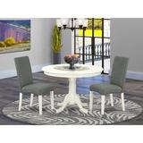 Winston Porter Emjay 3 - Piece Solid Wood Rubberwood Dining Set Wood/Upholstered Chairs in White, Size 30.0 H x 42.0 W x 42.0 D in | Wayfair