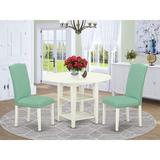 Winston Porter Siglinde 3 - Piece Drop Leaf Solid Wood Rubberwood Dining Set Wood/Upholstered Chairs in White, Size 30.0 H in   Wayfair
