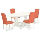 """Winston Porter Lupi 5 Piece Extendable Solid Wood Dining Set Table Color: Linen White, Chair in Linen White/Pink Flamingo, Size 30""""H X 40""""W X 76""""D"""