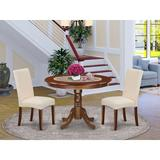 Winston Porter Emjay 3 - Piece Solid Wood Rubberwood Dining Set Wood/Upholstered Chairs in Brown, Size 30.0 H x 42.0 W x 42.0 D in   Wayfair