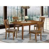 Lark Manor™ Leff Butterfly Leaf Solid Wood Breakfast Nook Dining Set Wood/Upholstered Chairs in Brown, Size 30.0 H in | Wayfair PSPL5-SBR-C
