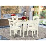 Winston Porter Aysegul 5 Piece Solid Wood Dining Set Wood/Upholstered Chairs in White, Size 30.0 H in | Wayfair 1DAF41C4FD864EA992AEE38588BCC34A