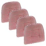 August Grove® Gingham Gripper Non-Slip Indoor Dining Chair Cushion Polyester/Polyester blend in Red, Size 2.0 H x 15.0 W x 16.0 D in | Wayfair